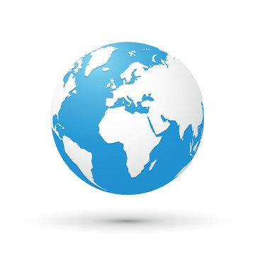 world map blue white illustration globe