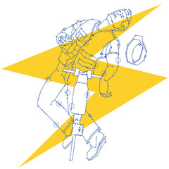 A workman composed of circuit diagram symbols, with a jackhammer, gets shocked by a power line.