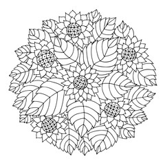 Black and white circle floral ornament.