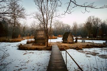 Fishing huts on winter lake
