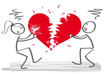 Beziehungsende. Paar zerreißt Herz und trennt sich