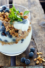 Breakfast granola and berries with yogurt
