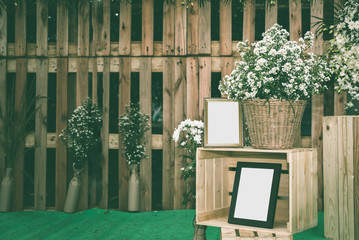 vintage wedding ceremony concept with the empty photo frame