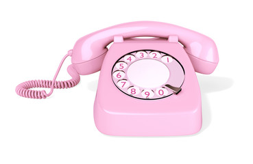 Pink Rotary Phone isolated on White Background. 3D illustration