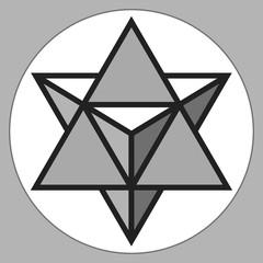 Merkaba, 3d crystal, geometry shape, volume star, abstract vector object