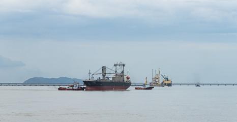 Cargo container ship sailing