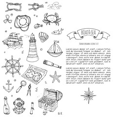 Hand drawn doodle Boat and Sea icons set. Vector illustration. Sea life concept elements. Ship symbols collection Marine life Nautical design Underwater life Sea animals Sea map Spyglass Magnifier