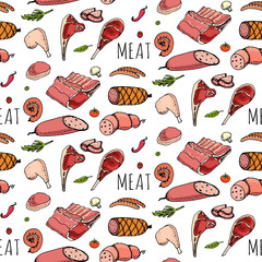 Seamless pattern Hand drawn doodle set of cartoon different kind of meat and poultry. Meat set Vector illustration Sketchy elements: Lamb Pork Ham Mince Chicken Steak Bacon Sausage Salami Delicatessen