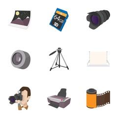 Photo shooting icons set, cartoon style
