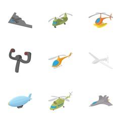 Aircraft icons set, cartoon style