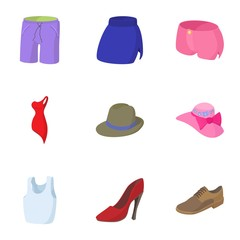 Clothing icons set, cartoon style