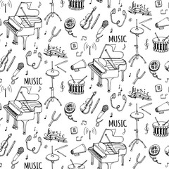Seamless pattern Hand drawn doodle Music set. Vector illustration. Musical instrument and symbols icons collection. Cartoon sound elements: Notes, Piano, Violin, Drum, Headphones, Cassette, Megaphone