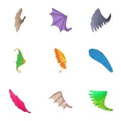 Wings of bird icons set, cartoon style