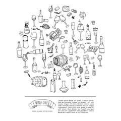 Hand drawn wine set icons. Vector illustration. Sketchy wine tasting elements collection. Cartoon winery symbols. Vineyard background. Grape, glass, bottle, barrel, corkscrew, opener, cheese platter