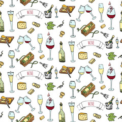 Seamless pattern with Hand drawn wine set icons. Vector illustration. Sketchy wine tasting elements collection. Cartoon winery symbols. Vineyard background. Grape, glass, bottle, barrel, corkscrew.