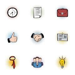 Marketing icons set, pop-art style