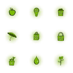 Purity of nature icons set, pop-art style