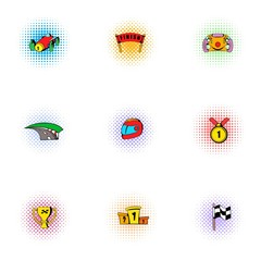 Racing accessories icons set, pop-art style