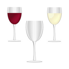 Wine glasses - empty, red wine and white wine.