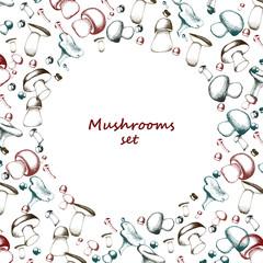 Mushrooms arranged in frame