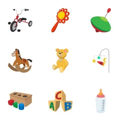 Types of toys icons set, cartoon style