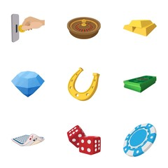 Gambling house icons set, cartoon style