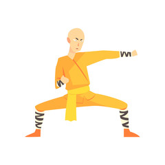 Bold Asian Shaolin Monk Kung Fu Martial Arts Fighter, Fighting Sports Professional In Traditional Fighting Sportive Clothing
