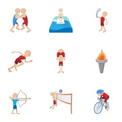 Different sport icons set, cartoon style