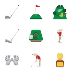 Game of golf icons set, cartoon style