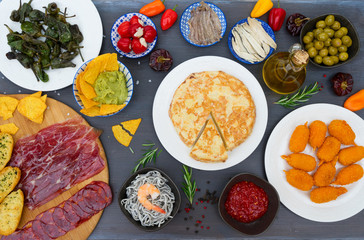 Table with spanish tapas - jamon, croquetes, guacamole and olives, top view, picnic table