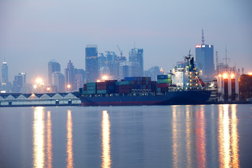 evening portrait of cityscape port at twilight