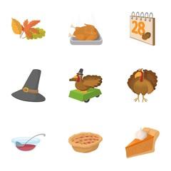 Public holiday of USA icons set, cartoon style