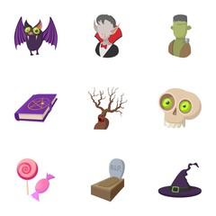 Terrible holiday icons set, cartoon style