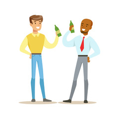 Happy Best Friends Having A Beer After Work, Part Of Friendship Illustration Series