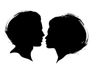 Man and Woman silhouettes on a white background. Black ink brash faces profiles in vector. Couple kissing