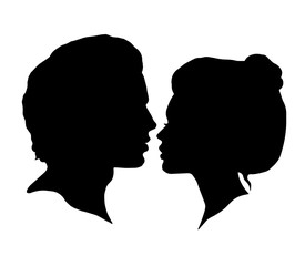 Man and Woman silhouettes on a white background. Black faces profiles in vector. Couple kissing