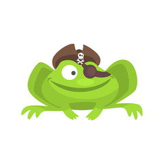 Green Frog Funny Character With Pirate Hat And Eye Patch Smiling Childish Cartoon Illustration