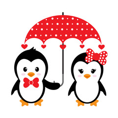 cartoon cute penguins set with heart and umbrella