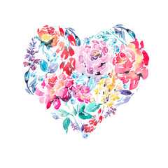 Watercolor colorful floral roses heart