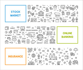 Line concept for stock market, online banking and insurance