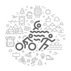 Vector line round concept for triathlon