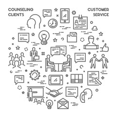 Line concept customer service and counseling clients