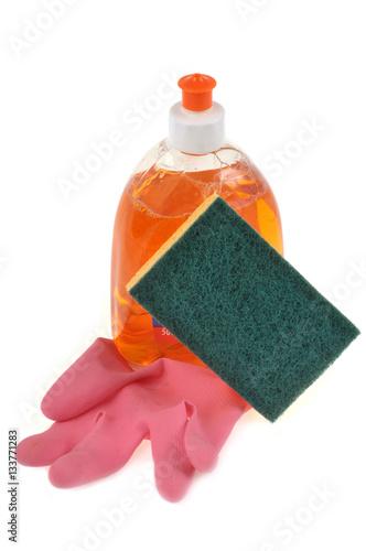 Produit vaisselle avec un gant en latex et une ponge photo libre de droits sur la banque d - Porte eponge et produit vaisselle ...