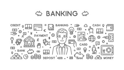 Vector line web concept for banking