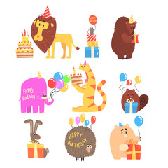 Funky Animals With Party Attributes At The Kids Happy Birthday Celebration Collection Of Cartoon Fauna Characters