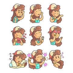 Girl In Cap, Choker And Blue Top Collection Of Hand Drawn Emoticon Cool Outlined Portraits