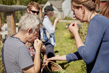 A group of people tasting seeds and plants on the foraging course.