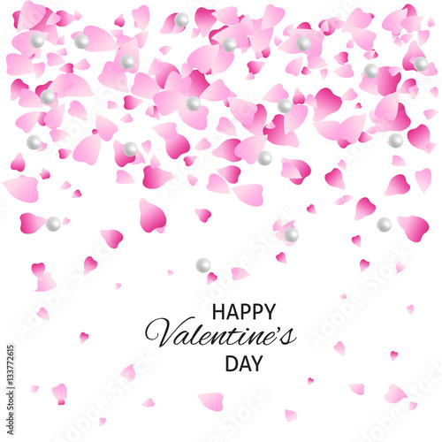 Happy Valentine S Day Card Pink Background With Petals And Pearls