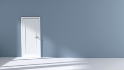 Empty Room Interior with white Door and sunlight