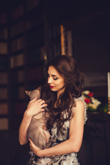 woman with glamour cat